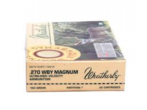 Mun. Metálica Weatherby .270 WTBY. MAG. Nosler Partition/150gr